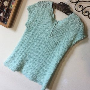 Anthropologie Sweaters - Anthropologie Knitted & Knotted Mint Sea Foam Top